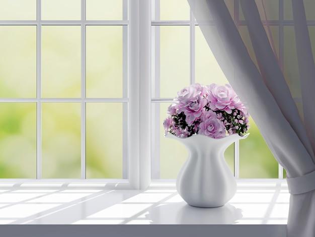 Bloemenvaas op venster Premium Foto