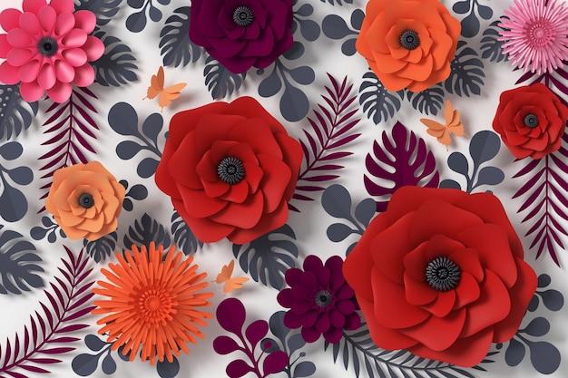 Bloempapierstijl, papieren ambachtelijke bloemen, vlinderpapier Premium Foto