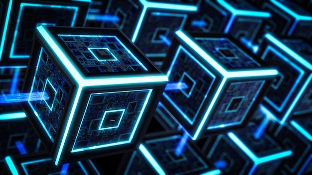 Blokketen, moderne sci fi-technologieachtergrond. Premium Foto