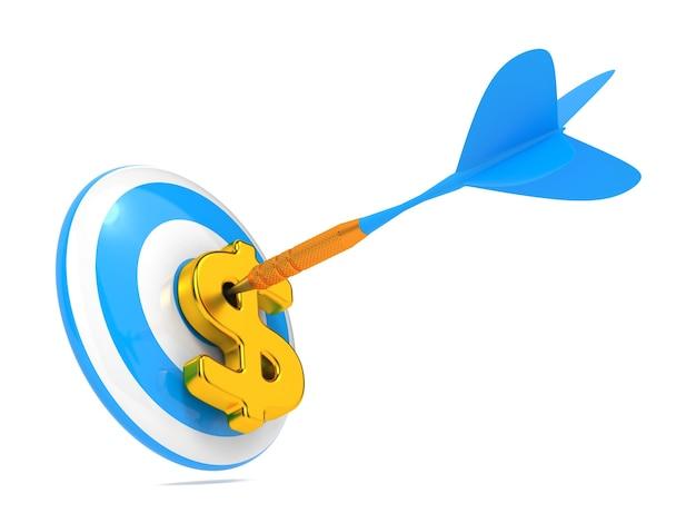 Blue dart hit the dollar sign geïsoleerd Premium Foto