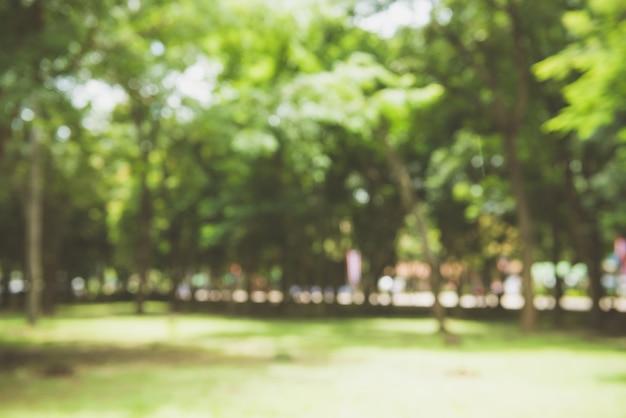 Blur natuur groen park met bokeh zonlicht abstracte achtergrond. kopieer ruimte van reisavontuur en milieuconcept. vintage toonfilter kleurstijl. Gratis Foto