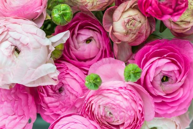 Boeket van pink ranunculus, buttercup bloemen Premium Foto
