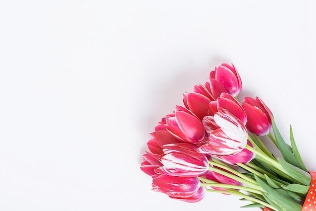 Boeket van rode tulpen op witte achtergrond Premium Foto