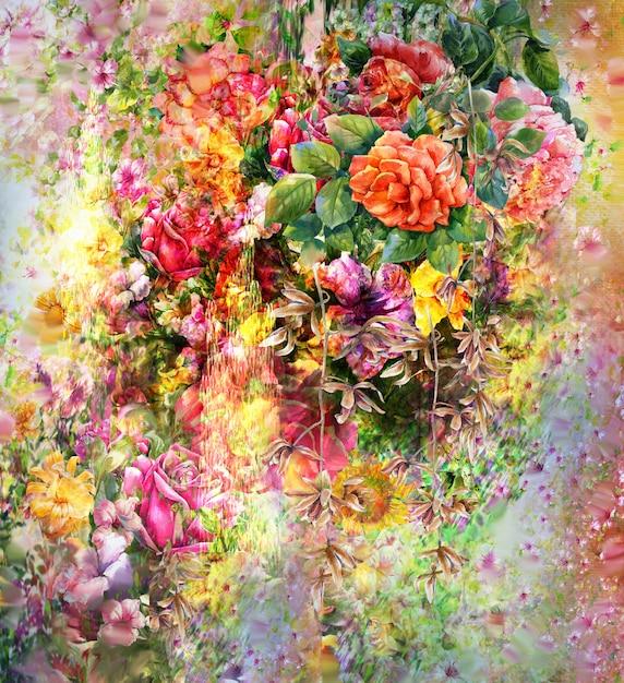 Boeket van veelkleurige bloemen aquarel schilderij stijl Premium Foto