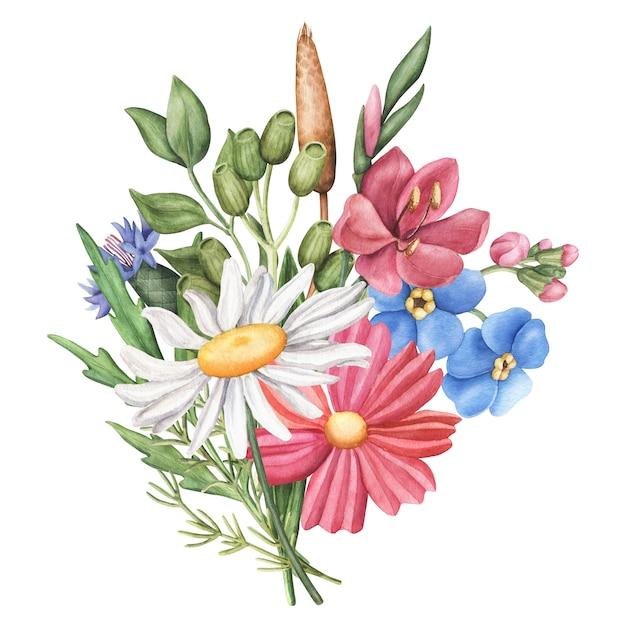 Boeket van wilde zomerbloemen, ronde samenstelling op witte achtergrond Premium Foto