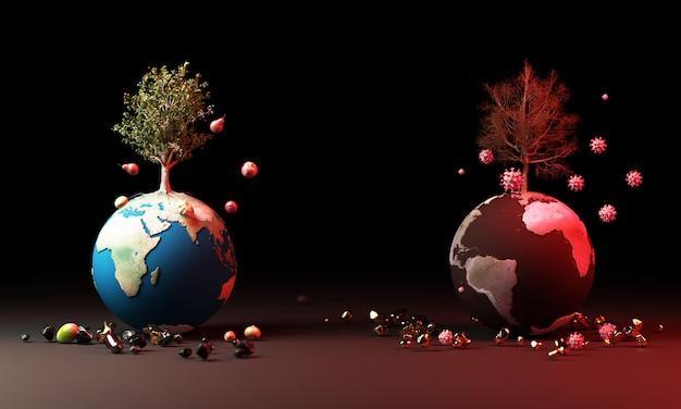 Bol met boom en fruit en coronavirus in het waarschuwingsconcept het 3d teruggeven Premium Foto