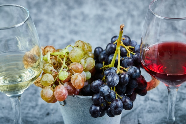 Bos van witte en zwarte druiven en twee glazen witte en rode wijn op blauw. Gratis Foto