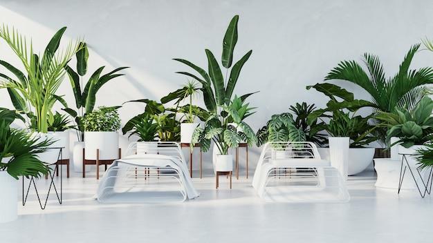 Botanisch interieur - tropische designkamer Premium Foto