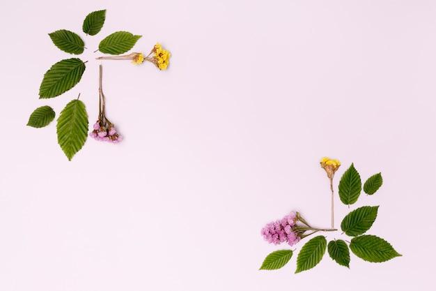 Botanisch ontwerp met bloemen en bladeren Gratis Foto