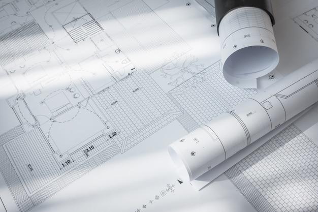 Bouwplannen van architecturaal project. Gratis Foto