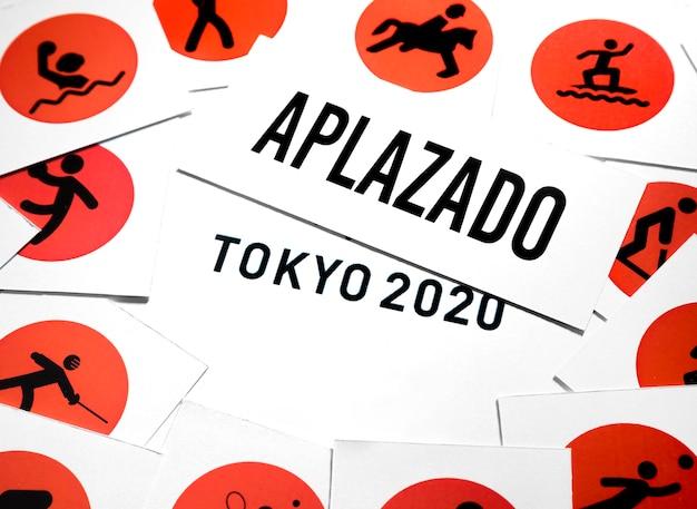 Bovenaanzicht 2020 sportevenement uitgesteld arrangement Gratis Foto