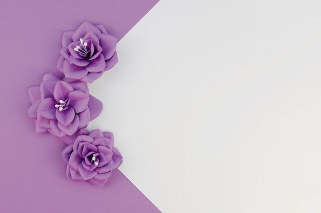 Bovenaanzicht arrangement met kleine paarse bloemen Gratis Foto