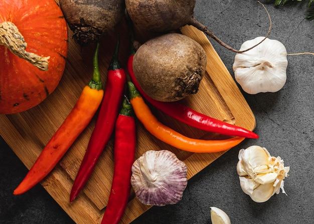 Bovenaanzicht assortiment groenten Gratis Foto