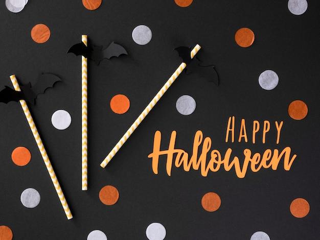 Bovenaanzicht assortiment van halloween-elementen Gratis Foto