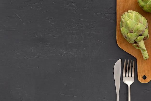 Bovenaanzicht biologische groente met kopie ruimte Gratis Foto