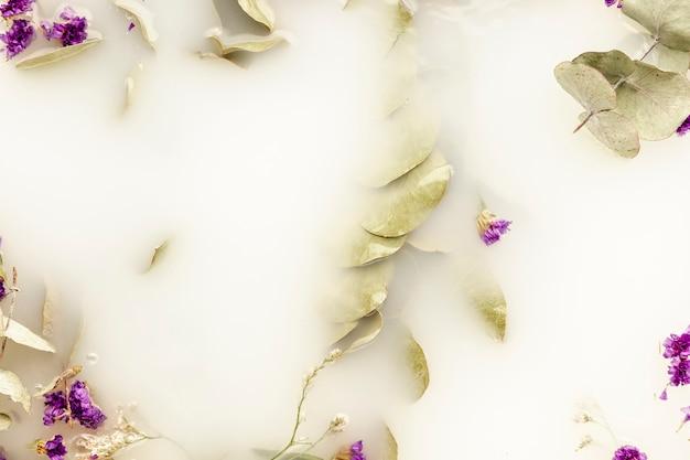 Bovenaanzicht bleke bladeren en paarse bloemen in stroomversnelling Gratis Foto