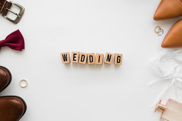 Bovenaanzicht bruiloft accessoires Gratis Foto