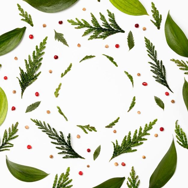 Bovenaanzicht frame met groene bladeren Gratis Foto