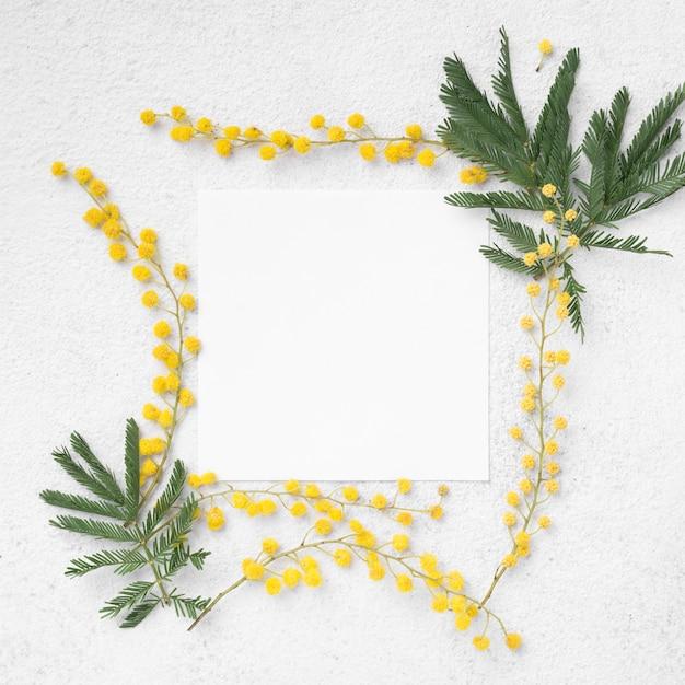 Bovenaanzicht frame van bloemen takken Gratis Foto
