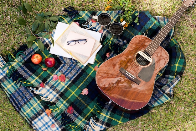 Bovenaanzicht gitaar op picknick doek Gratis Foto