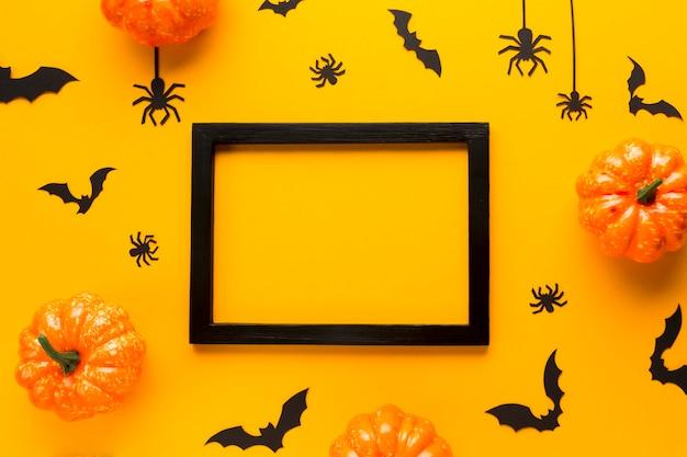Bovenaanzicht halloween partij elementen Gratis Foto