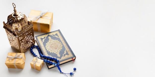 Bovenaanzicht islamitisch nieuwjaar concept met kopie ruimte Gratis Foto
