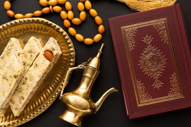 Bovenaanzicht islamitische nieuwjaar concept Gratis Foto