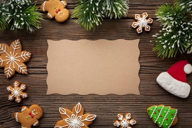 Bovenaanzicht kerst frame met mock-up Gratis Foto
