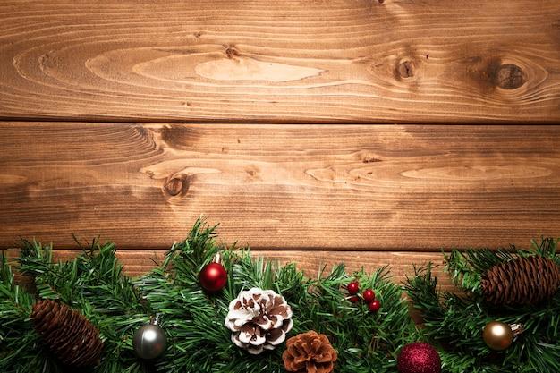 Bovenaanzicht kerstdecoratie met kopie ruimte Gratis Foto