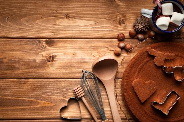 Bovenaanzicht kerstmis koken gebruiksvoorwerpen Gratis Foto