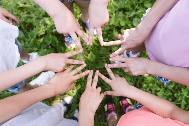 Bovenaanzicht kinderen maken een ster met hun handen Gratis Foto