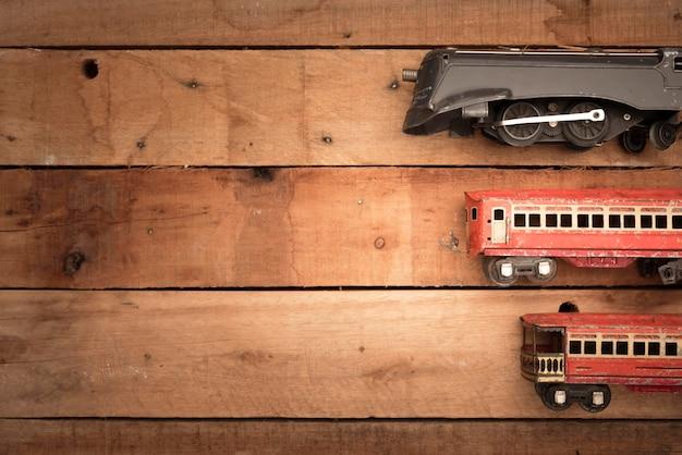 Bovenaanzicht kleine treinen frame met kopie-ruimte Gratis Foto