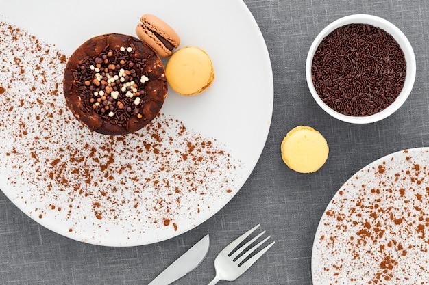 Bovenaanzicht lekker dessert op een bord Gratis Foto