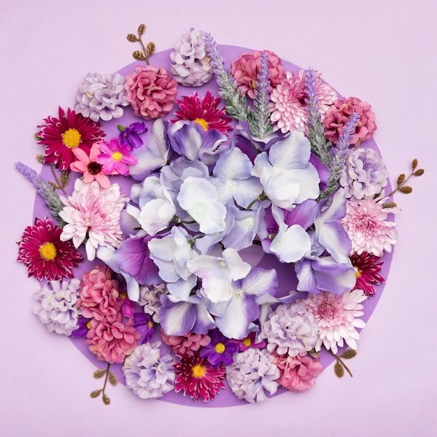 Bovenaanzicht mengsel van prachtige bloemen Gratis Foto