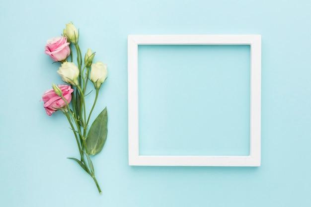 Bovenaanzicht mini rozen met frame Gratis Foto