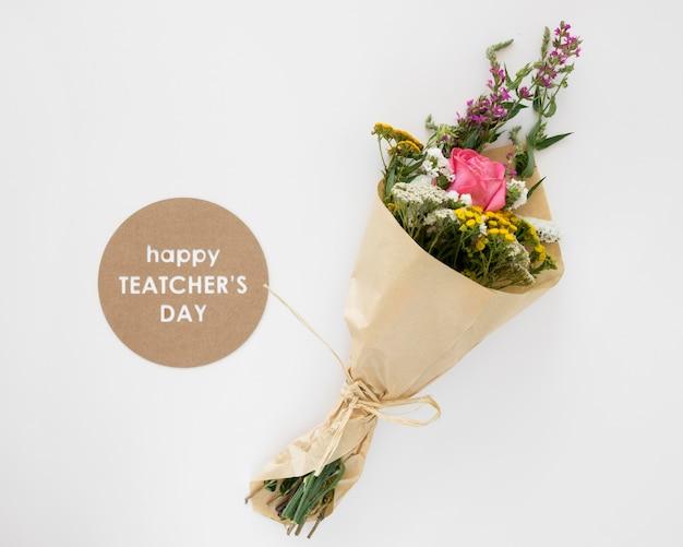 Bovenaanzicht mooie bloemen boeket Premium Foto