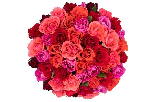 Bovenaanzicht op een boeket rozen geïsoleerd Premium Foto