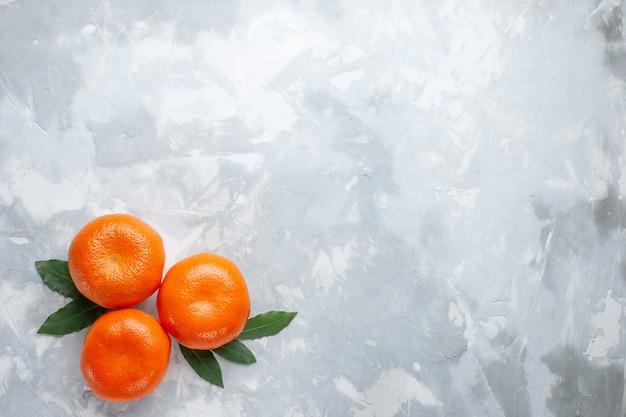 Bovenaanzicht oranje mandarijnen hele citrusvruchten op het witte bureau citrus exotisch sap fruit Gratis Foto