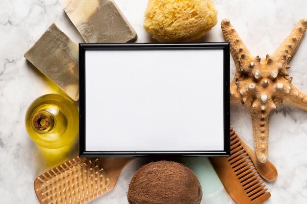 Bovenaanzicht pack voor lichamelijke hygiëne Gratis Foto