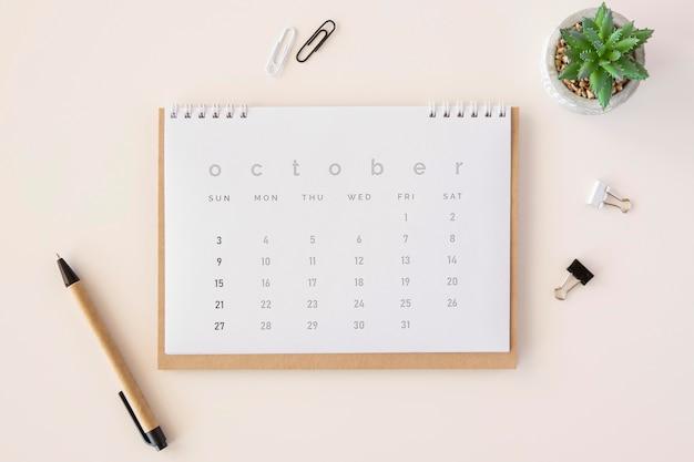 Bovenaanzicht planner kalender met vetplant Gratis Foto
