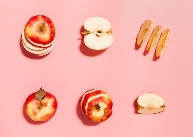 Bovenaanzicht rode appels arrangement Gratis Foto