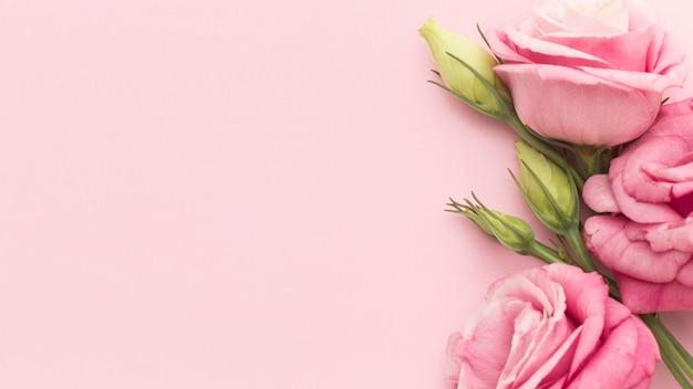Bovenaanzicht roze rozen met kopie-ruimte Gratis Foto