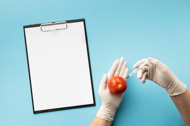 Bovenaanzicht tomaat en kopieer ruimte klembord Premium Foto