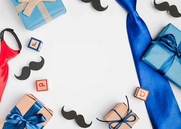Bovenaanzicht vaderdag accessoires op tafel Gratis Foto