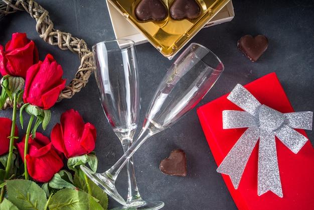 Bovenaanzicht valentijn dag met chocolade hartjes Premium Foto