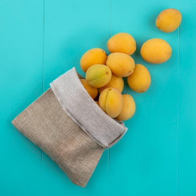 Bovenaanzicht van abrikozen in een jutezak op een blauwe ondergrond Gratis Foto