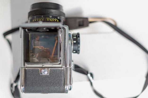 Bovenaanzicht van camera met kopie ruimte Gratis Foto