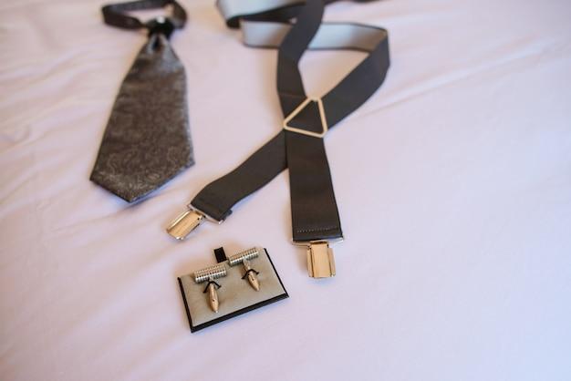 Bovenaanzicht van de accessoires voor heren Premium Foto