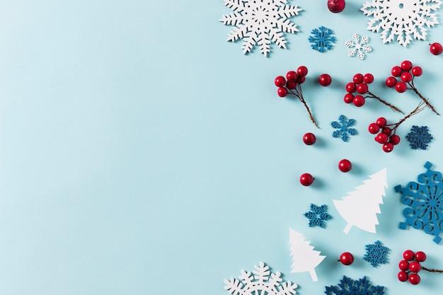 Bovenaanzicht van de mooie winter met kopie ruimte Gratis Foto