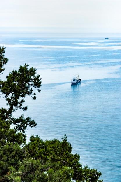 Bovenaanzicht van een boot die langs de heldere kalme zee vaart langs de kust met bloeiende groene bomen op een warme lentedag. concept van zeehaven en zeereizen Premium Foto